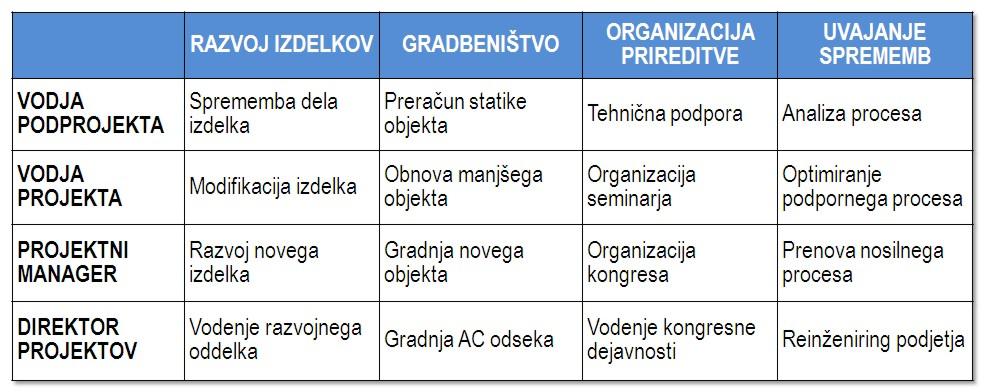 Manager vs vodja projekta - tipi projektov